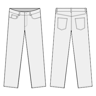 Straight leg pants fashion flats template