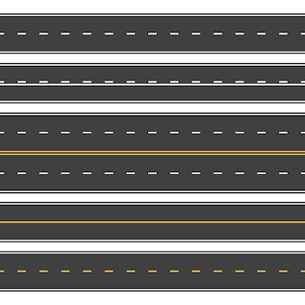 シームレスな直線道路。無限のアスファルト通り、平面図道路。空の水平ハイウェイ