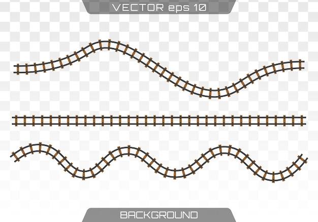 Прямые рельсы. концепция железнодорожного транспорта, метро, логистики и железной дороги. плоский.