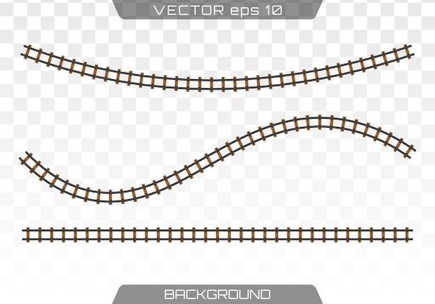 Straight tracks rails. concept of train transportation, metro, logistics and railroad. flat.