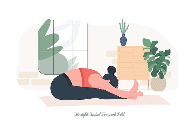 Straightseated forward fold yoga pose young woman practicing yoga exercise