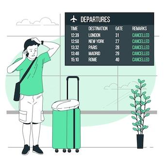 Illustrazione di concetto di viaggiatore incagliato