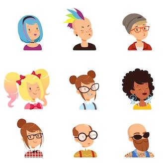 奇妙な人々のキャラクターセット、さまざまな機能とヘアスタイルのイラストが付いた面白い顔