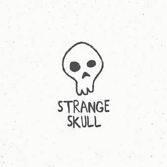 Strange skull abstract  sign, symbol or logo template. hand drawn illustration with shabby textures.