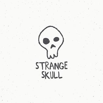 奇妙な頭蓋骨の抽象的な記号、記号またはロゴのテンプレート。ぼろぼろのテクスチャで手描きイラスト。