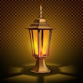 Strange, vintage retro lantern with a candle. 3d realistic