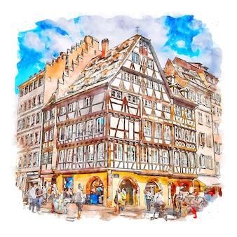 Страсбург франция акварельный эскиз рисованной иллюстрации