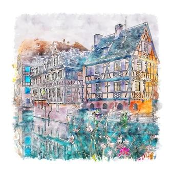 스트라스부르 프랑스 수채화 스케치 손으로 그린 그림