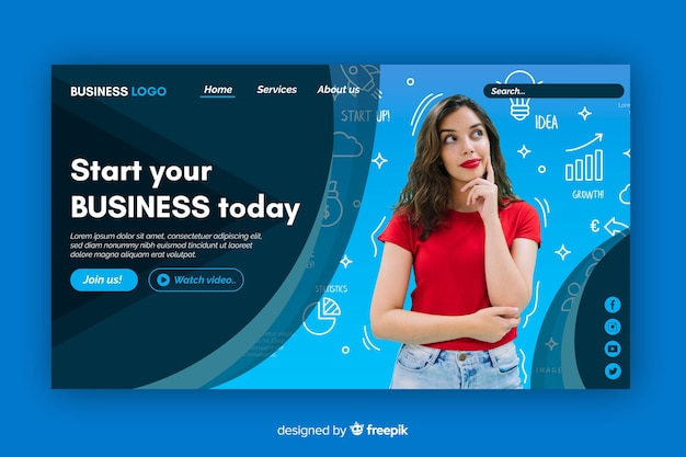 Strat you business landing page with photo