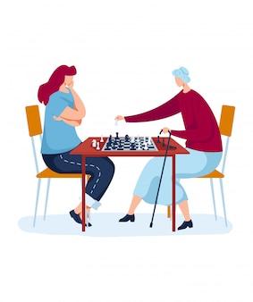 戦略的な家族チェスボードゲーム、興味深い趣味、楽しい娯楽、漫画のスタイルの図では、白で隔離されるデザイン。