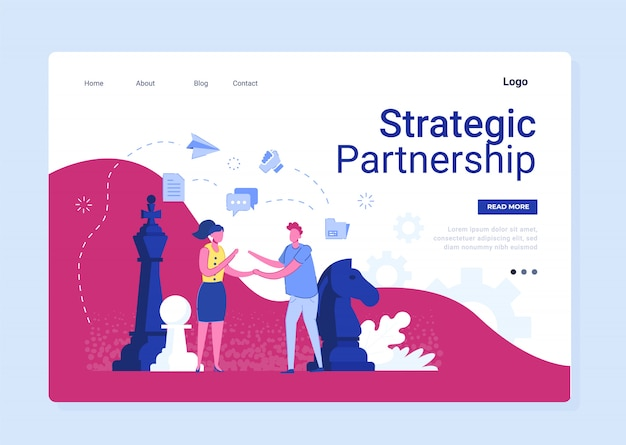 Strategic partnership in business flat banner