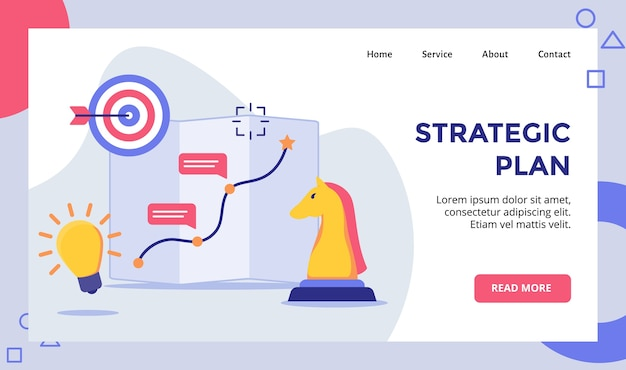 Strategic plan horse chess arrow target board campaign for web website home homepage landing page template banner with modern