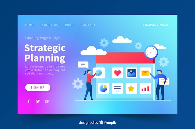 Strategic planning gradient landing page