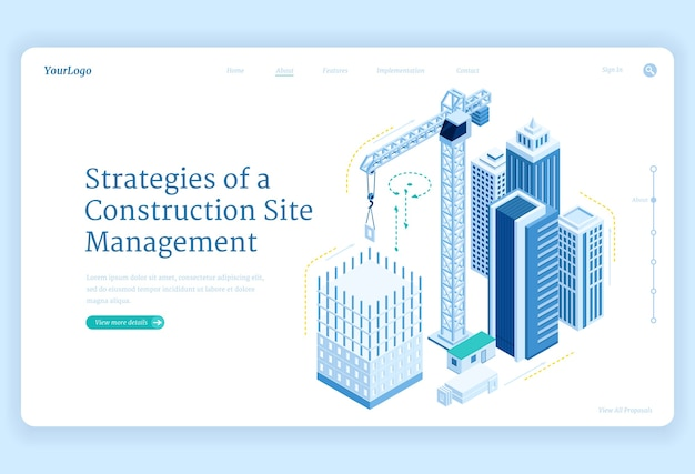 Strategies of construction site management banner