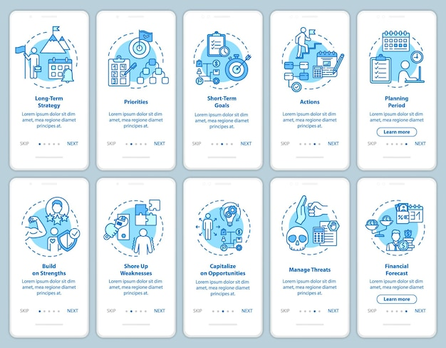 Strategies onboarding mobile app page screen with concepts. startup development. self-building walkthrough 5 steps graphic instructions. ui vector template with rgb color illustrations