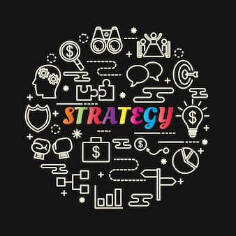 Strategy colorful gradient with line icons set
