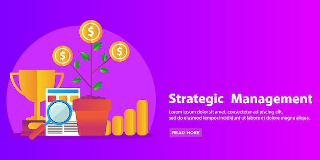 Strategy concept, business consulting, human resource and management flat modern design web banner.
