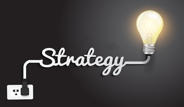 Strategy concept modern design template, creative light bulb idea.