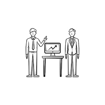 戦略コンサルティング手描きアウトライン落書きベクトルアイコン。白い背景で隔離の印刷、ウェブ、モバイル、インフォグラフィックのビジネス戦略スケッチの概念。