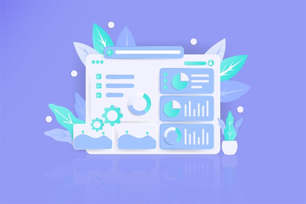 Strategy data illustration 3d modern awesome flat landing page