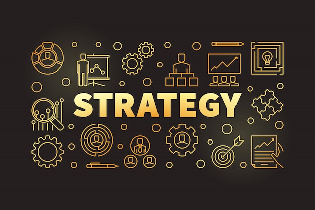Strategy golden outline horizontal illustration or banner