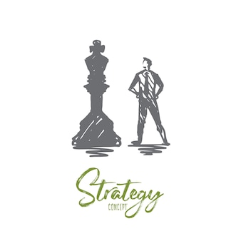 Strategy illustration in hand drawn
