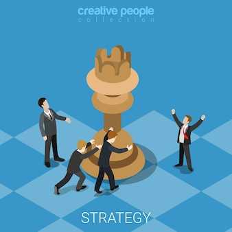Strategy knight move business concept flat