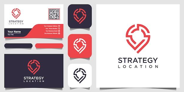 戦略の場所またはポイントテックロゴと名刺。創造的なピン戦略技術、エレクトロニクス、デジタル、アイコンやデザインコンセプト。