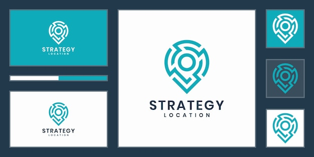 Strategy location or point tech logo. creative pin strategy technology, electronics, digital, for icon or design concept