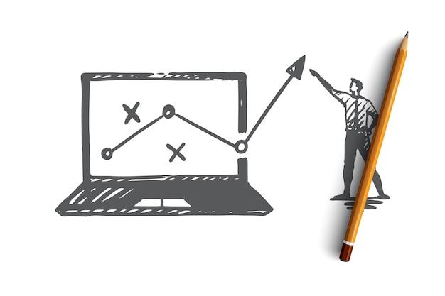 전략, 마케팅, 그래프, 다이어그램, 화살표 개념. 손으로 그린 관리자는 진행 개념 스케치에 대해보고합니다.
