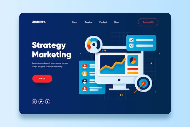 Strategy marketing landing page template