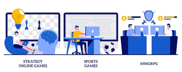 Strategy online games, sports games, mmorpg concept with tiny people. internet and video gamers streaming vector illustration set. cybersport tournament, modern entertainment and pastime metaphor.