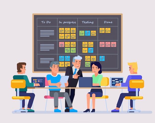 Встреча по планированию стратегии. команда, работающая вместе над большим начинающим ит-бизнесом. доска задач scrum, висящая в комнате для команды, полная задач на стикерах. плоский рисунок.