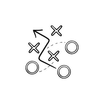 전략 전술은 손으로 그린 개요 낙서 아이콘을 계획합니다. 스포츠 액션 전략, 비즈니스 전술, 팀워크 개념. 인쇄, 웹, 모바일 및 흰색 배경에 인포 그래픽에 대한 벡터 스케치 그림.