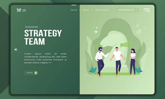 Strategy team, build teamwork illustration on landing page template