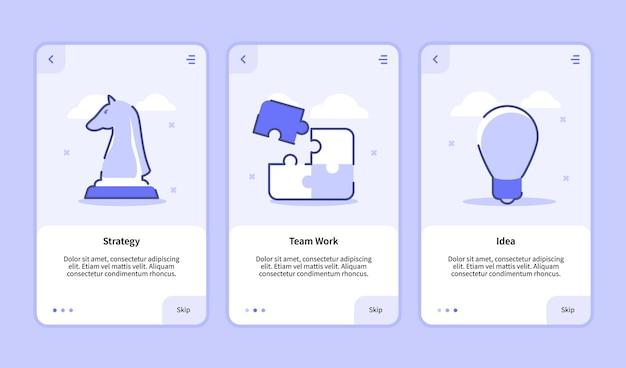 Идея работы команды по стратегии онбординговый экран для пользовательского интерфейса страницы баннера шаблона мобильных приложений с тремя вариациями современного плоского стиля