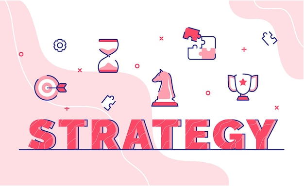 Strategy typography word art background