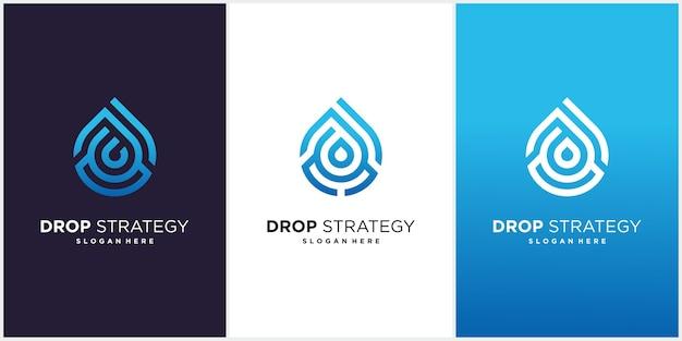 Шаблон дизайна логотипа воды стратегии.