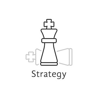 Стратегия с тонкой линией шахматного короля. понятие противника, игрока, карьеры, босса, досуга, тактической цели, идеи, силы, атаки. плоский стиль современный логотип дизайн векторные иллюстрации на белом фоне