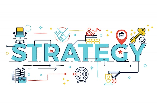 Strategy word lettering typography design illustration