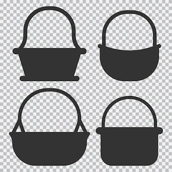 Straw basket vector black silhouettes set isolated on transparent background.
