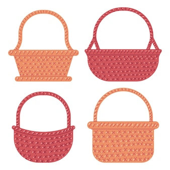 Straw basket vector cartoon set isolated on white background.