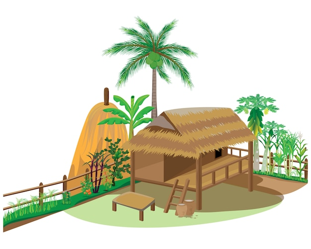 Straw hut with vegetable around picket