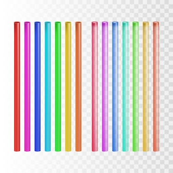 Straw multicolor drinking tube tool set