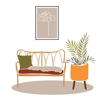 部屋のストローソファカットアウトスタイルの抽象的な要素を持つモダンな自由奔放に生きるインテリア