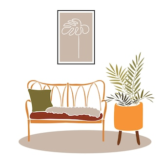 Straw sofa in the roommodern boho interior with abstract elements in  cut out style