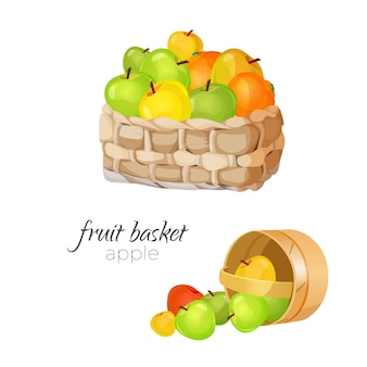Straw wicker fruit basket.