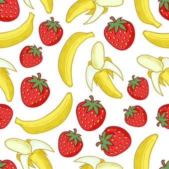 イチゴとバナナのシームレスなパターン。