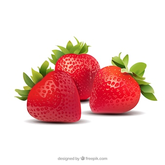 Strawberries background in realistic style