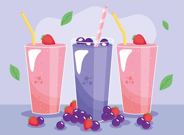 Strawberries and berries smoothies drinks